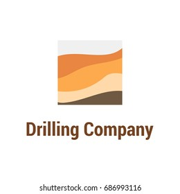 Simple and style vector logo template for geological prospecting company. EPS10. Illustration of layers of soil in section.