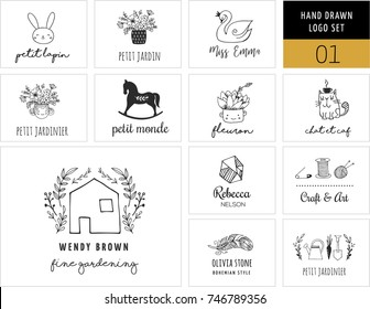 Simple and stylish collection of modern logos and illustrations, vector hand drawn elements, doodles