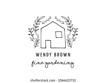 Simple and stylish modern logo and illustration, house vector hand drawn element, doodle