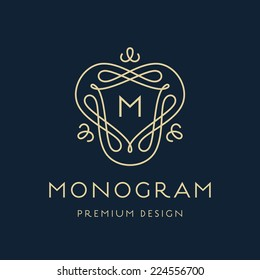 Simple and stylish monogram design template, Elegant lineart logo design, vector illustration