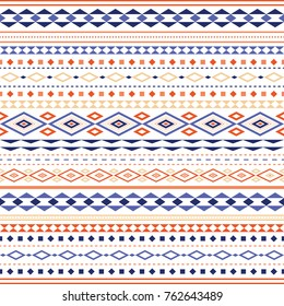 Simple and stylish seamless pattern from different triangles. The composition is made horizontally. The pattern uses shades of blue-serene, orange and peach color.