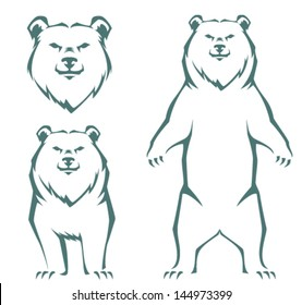 simple stylized line illustration of a bear