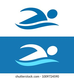 Simple stylized swimmer logo with abstract athlete figure and blue wave. Swimming pool and water sports vector icon, two color variants.