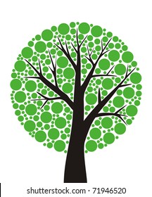 simple stylized tree with green leaves sliced