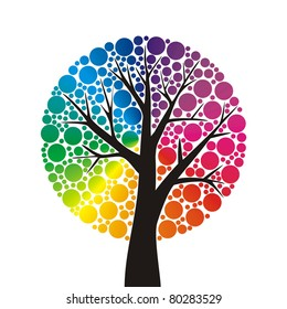 simple stylized tree with rainbow leaves