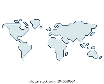 Simple stylized world map. Continents silhouette in minimal line icon style. Isolated vector illustration.