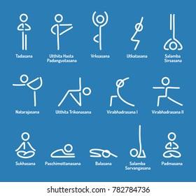 Simple stylized yoga poses icon set. Stick figures in yoga asanas, vector illustration.