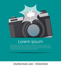 Simple summer card with flashing camera in a pocket in vector
