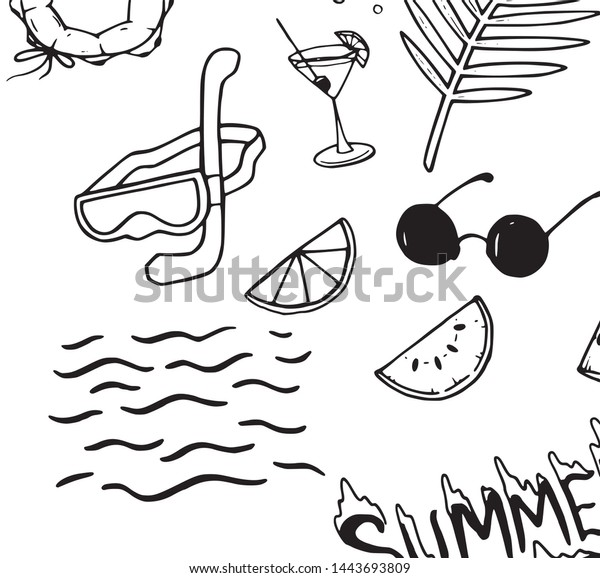 Simple Summer Decoration Cropped Sample Illustration Stock