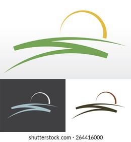 Simple sunrise design for logo, emblem or sign.