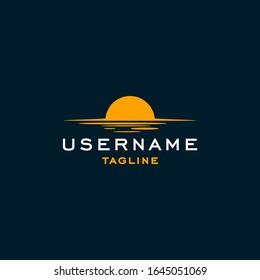 simple sunset logo design inspiration . simple sunrise logo design template . simplest sunrise sunset logo