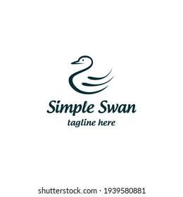 Simple Swan logo design vector illustration