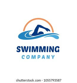 Simple Swimming Pool Silhouette Sea Ocean Water Wave Logo design inspiration