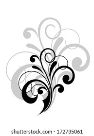 Simple swirling calligraphic design with a foliate motif in black and white with a larger grey repeat behind as a decorative element on white