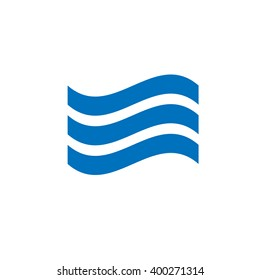 Simple symbol sound wave, sea wave symbol flat vector icon on white background. Isolated blue wave.