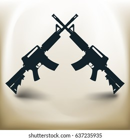 Simple symbolic image of two assault rifles