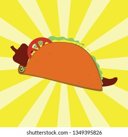 Simple taco filled with chili, lettuce, cheese and salsa in vector