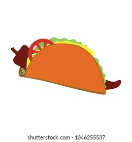 Simple taco with ingredients vector isolated