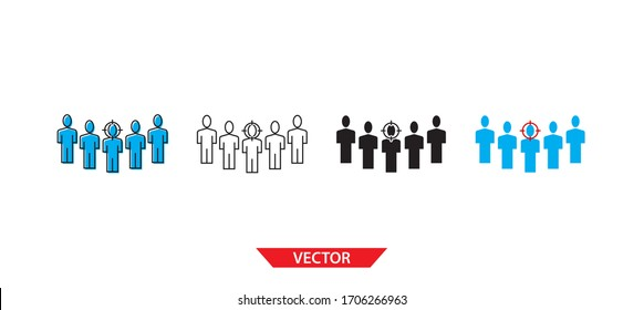 Simple target on people icon on white background 4 types such as outline, black, color, outline and color. Vector illustration.