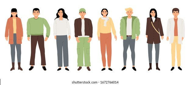 Simple teenage characters Use colors that look bright, flat design style set of isolated on white background. Vector illustration.