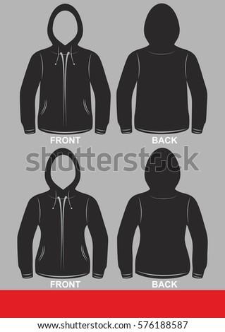 Simple Template Hoodie Jacket Design Colored Black