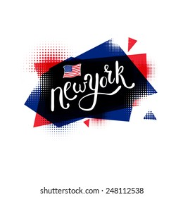 Simple Text Design for New York Concept, with Small U.S. Flag, on Abstract Blue and Red. Isolated on White. Vector illustration.