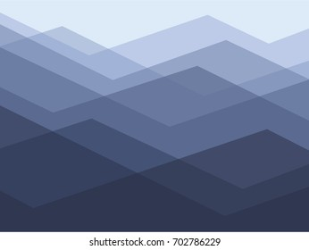Simple texture of blue mountains in outlines.