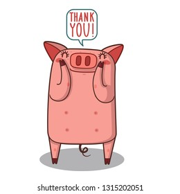 simple thank you card with pig