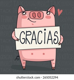 simple thank you card with pig Word Cloud - Thank You in 6 Languages
