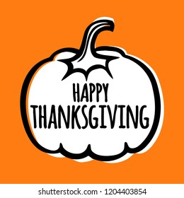 Simple thanksgiving card, poster vector illustration with pumpkin.