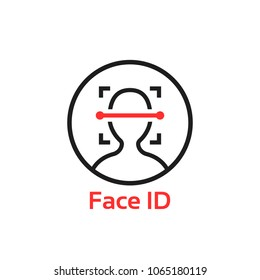 simple thin line face id scan logo. concept of fast future facial scanner for smart phone or laptop. stroke flat trend modern software ui logotype graphic linear design isolated on white background
