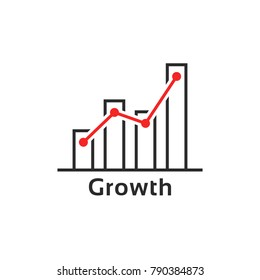 simple thin line growth logo like success. contour flat style trend modern logotype graphic art design isolated on white background. concept of grow up your capital or analysis prediction algorithm