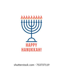 simple thin line happy hanukkah logo with candles. flat style trend logotype graphic design isolated on white. concept of menora for orthodox chanukah holiday or religious attribute for hannukah