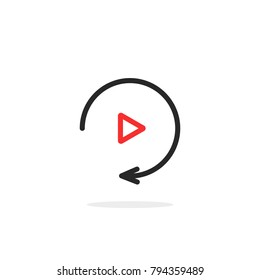 simple thin line replay icon. flat outline style trend modern red logotype graphic design on white background. concept of watching on streaming video player or livestream webinar linear ui emblem