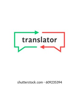 simple thin line translator logo. concept of child learning chat and interpreter dialog label isolated on white background. flat unusual logotype graphic art design