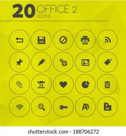 Simple thin office icons on geometric polygonal triangular background, set 2