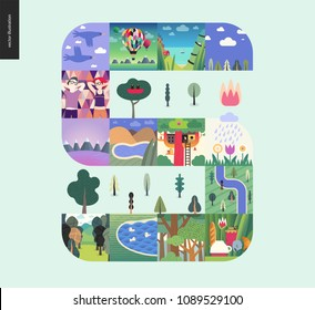 Simple things - forest set on a mint background - flat cartoon vector illustration of forest, ducks, river, trees, couple, birds, flowers, tee meal, tree house, seapiece, boat and lake - composition