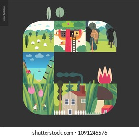 Simple things - forest set on a black background - flat cartoon vector illustration of couple in tulips, mushroom house, treehouse, forest, field, sheep, countryside house, sea view, boat- composition