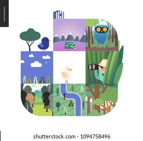 Simple things - forest set on a white background - flat cartoon vector illustration of owl in woods, forest, top view map, river, sk, clouds, bird, hunter in grass, mountains with snow -composition