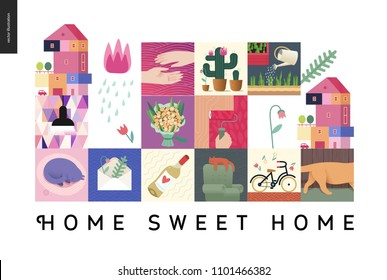Simple things - home - flat cartoon vector illustration of countryside house, black lamp, sleeping cat, herbarium, wine, bouquet, hands, cactus, roller, bicycle, tulip, gardening -house black postcard