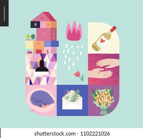 Simple things - home - flat cartoon vector illustration of countryside house, black lamp, sleeping cat, envelope with herbarium, bouquet, two hands, white wine, tulip and rain - house mint postcard