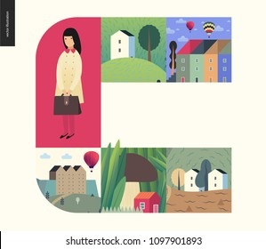 Simple things - houses - flat cartoon vector illustration of school girl with briefcase, uniform, houses, countryside, farm, town, city, mushroom tiny red house, air balloons - houses composition