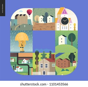 Simple things - houses - flat cartoon vector illustration of houses, countryside, tower clock, castle, farmland, kid, umbrella under rain, isolated house, neighbourhood, raincoat -houses composition