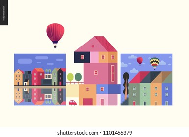 Simple things - houses - flat cartoon vector illustration of colourful countryside house with terrace and trees on it, neighbourhood, row of townhouses, canal bank, air balloons - houses composition