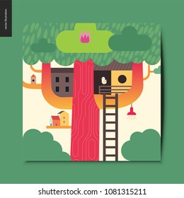 Simple things - tree house - a tree with a red trunk, few wooden houses on the branches and a ladder towards them, summer postcard, vector illustration