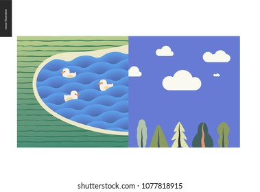 Simple things - two summer landscapes - one with a lake and ducks, and other is a blue summer sky with white clouds above some trees
