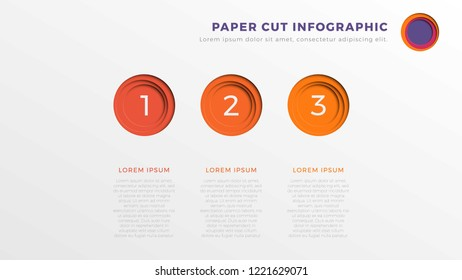 simple three steps infographic timeline template with round paper cut elements. business process diagram for brochure, banner, annual report and presentation. easy for edit and customize. eps10