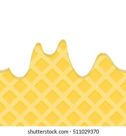 Simple tile of seamless pattern of milky ice cream cone. Cute texture and big copy space of sweet candy.