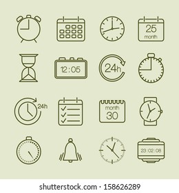 Simple time and calendar icons set vector illustration