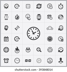 Simple time icons set. Universal time icon to use in web and mobile UI, set of basic UI time elements